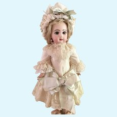 """White Antique Silk and Lace Dress and Hat for 19"""" Antique French or German Doll"""