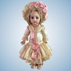 """Pale Creamy Beige Antique Silk Couture Dress and Hat with Bright Pink Ribbon for 19"""" Antique French or German Doll"""
