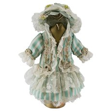 "Blue-Green and White Striped Antique Silk and Lace Dress and Hat for an 8""-9"" Antique French or German Doll"