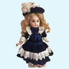 """Blue Antique Silk Velvet and Lace Dress and Hat for a 17"""" Bebe Antique French or German Doll"""