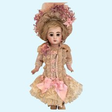"""Pink Antique Silk and Lace Dress and Hat for 19"""" Antique French or German Doll"""