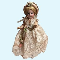 Pink Silk and Lace Dress and Hat for an Antique 6 inch French or German Doll