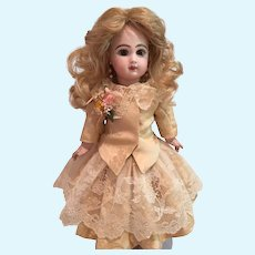 """Pale Yellowish Beige Antique Silk and Lace Skirt and Jacket for a 19"""" Antique French or German Doll"""
