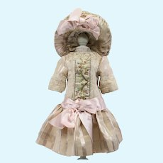"""Beige Antique Silk and Pink Ribbon Dress with Stylish Hat for 19"""" Antique French or German Doll"""
