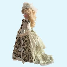 Antique Silk Beaded Dress and Hat for a 14 inch Antique French or German Fashion Doll