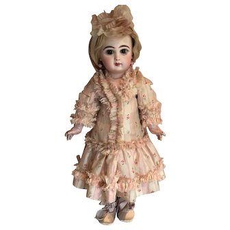 """Pink Antique Patterned Silk Stripe Dress and Flower Head Ribbon for 19"""" Antique French or German Doll"""