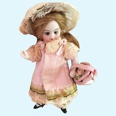 Pink Antique Silk and Lace 4-Piece Dress Ensemble for 4 inch Antique French or German Mignonette Doll