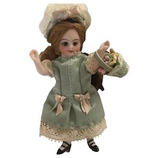 Green Antique Silk and Lace 4-Piece Dress Ensemble for a 4 inch Antique French or German Mignonette Doll