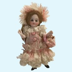 Pink Striped Floral Antique Silk and Lace 3-Piece Dress Ensemble for a 4 inch Antique French or German Mignonette Doll