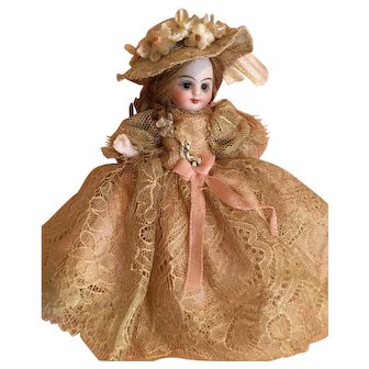 "Beige Antique Silk Lace Couture Dress 3-Piece Ensemble for 4"" Antique French or German Mignonette Doll"