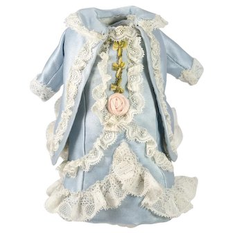 Blue Antique Silk and Lace Dress for a 8-9 inch Antique French or German Doll