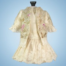 Beige Embroidered Antique Silk Couture Jacket and Dress for Antique French or German Doll