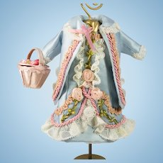 """Blue Antique Silk and Lace Dress, Jacket and Basket for 8-9"""" Antique French or German Doll"""