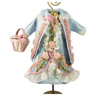 "Blue Antique Silk and Lace Dress, Jacket and Basket for 8-9"" Antique French or German Doll"