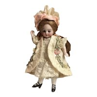 """Creamy Beige Antique Silk and Lace Jacket, Dress and Hat for a 4"""" Antique French or German Mignonette Doll"""