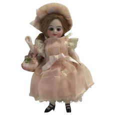 Pink Antique Silk and Lace 4-Piece Dress Ensemble for a 4 inch Antique French or German Mignonette Doll