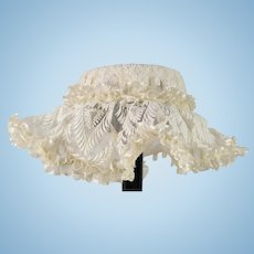 """White Antique Lace Hat for 19"""" Antique French or German Doll"""