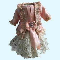 Antique Silk and Lace Outfit for a 10 inch Antique French or German Bebe Doll
