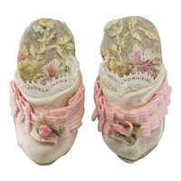 "Tiny 1-1/2 "" Antique Silk and Lace Shoes for Antique French or German Fashion Doll"