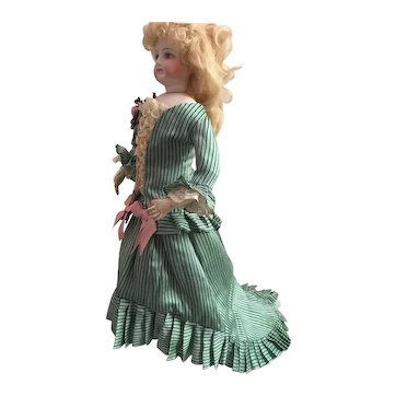 Green Striped Antique Silk Outfit for a 14 inch Antique French or German Fashion Doll