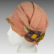 Vintage Premier Brand 1920's Cloche Hat Dusty Rose with Velvet Flowers