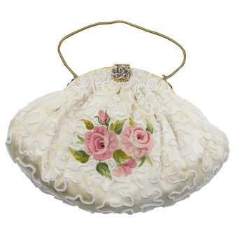 Creamy White Beaded Embroidered Evening Bag Purse