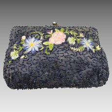 Vintage Iridescent Blue Beaded Evening Bag Hand Embroidered Jewel Clasp