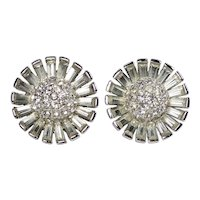 Boucher Rhinestone Floral Clip Earrings