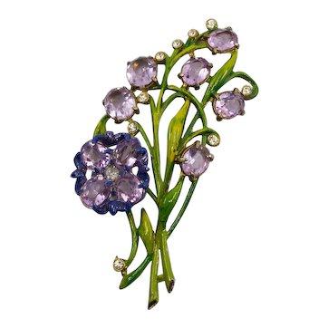 Vintage Purple Rhinestone Floral Pin