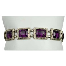 Vintage Purple Rhinestone Bracelet
