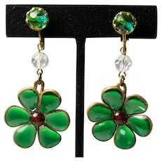 Green Poured Glass Flower Dangling Earrings Clip