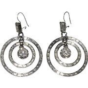 Rhinestone Dangling Sparkling Circles Pierced Earrings Hoops