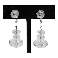 Art Deco Clear Crystal Faceted Drop Earrings, Screw Back