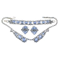 Light Sapphire Blue Rhinestone and Cabochon Necklace, Bracelet, Clip Earring Set
