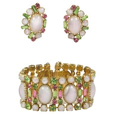 Hattie Carnegie White Cabochon Pink and Green Rhinestone Link Bracelet with Clip Earrings Set