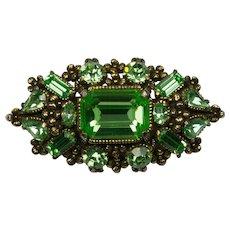 Hollycraft 1954 Light Green Rhinestone Brooch Pin