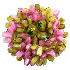 Hattie Carnegie Green and Pink Molded Glass Brooch Pin Floral