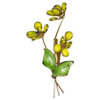 Yellow Hattie Carnegie Poured Glass Flower Brooch Pin