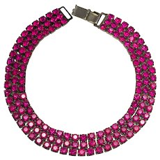 Vintage Kirk's Folly Fuchsia Rhinestone Necklace
