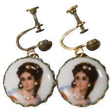 Vintage LIMOGES French Portrait Screw Back Earrings