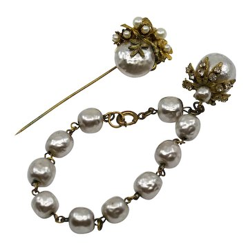 Vintage Miriam Haskell Bracelet and Stick Pin
