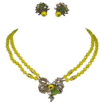 Yellow Early Miriam Haskell Unsigned Necklace and Clip Earrings