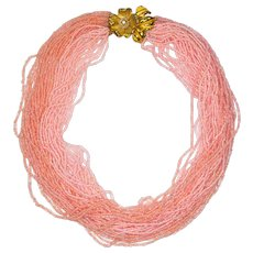 Peach and Pink Seed Bead Vintage Torsade Necklace