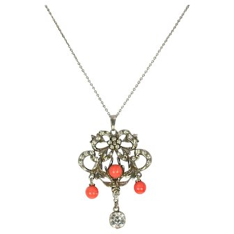 French Sterling Silver Coral and Paste Pendant Necklace