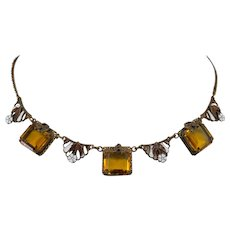 Czech Enamel and Amber Rhinestone Necklace