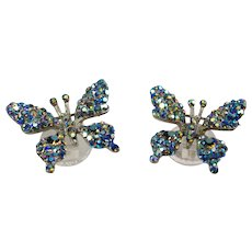 Set of 2 Butterfly Aurora Borealis Rhinestone Pins