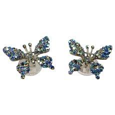 Set of 2 Butterfly Aurora Borealis Rhinestone Pins