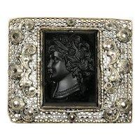 Black Cameo Marcasite Silver Tone Mesh Brooch Pin