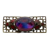 Art Deco Czech Red AB Cabochon Enamel Brooch Pin