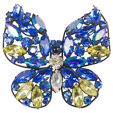 Regency Blue Butterfly Large Brooch Pin